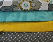 Custom 4 Fat Quarter Bundle Modern Floral Gray Blue Gold Yellow Arrow Gray Fabric Assortment Solid 100 Percent Cotton Quilting