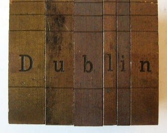 Vintage Ludlow Mats Matrices Brass Dublin Tempo Bold Condensed 60 pt Printing Type