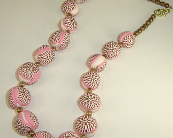 Pink Brown and White Swirls in Polymer Beaded Necklace