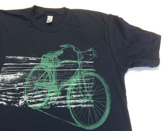 Mens Black T-Shirt with Green Vintage Bicycle Print