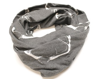 Antler Print Infinity Scarf in Dark Grey and Ivory