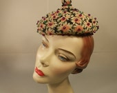 CLEARANCE 60% OFF Parisienne Flare - Vintage 1950s Multi Colour Floral Beanie Beret w/Bejeweled Top