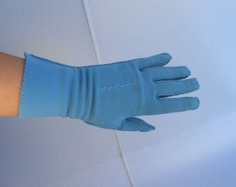 Teal I See You Again - Vintage 1950s Teal Blue Nylon Over the Wrist Gloves - 6.5/7