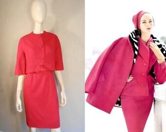 Purrfect Pinks - Vintage 1950s Hot Pink Silk & Wool Wiggle Dress w/Cropped Jacket Bolero - 0/2