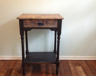 High Occasional Table, Work Table, Catchall table, Microwave stand, towel stand, Drawer, Charcoal Grey and Agate Pull