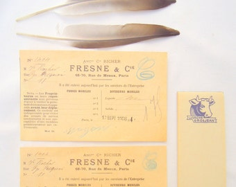 vintage french paper ephemera.receipts.notepad.display.scrapbooking.tessiemay vintage