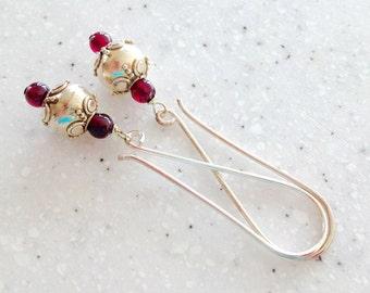 Bali Silver and Garnet Long Earrings