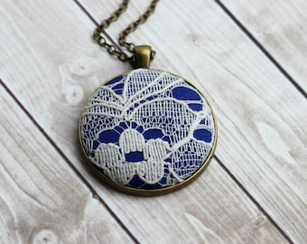 Cobalt Blue Necklace, Blue and White Jewelry, Blue Wedding, Boho Jewelry, Unique Gift For Women, Lace Bridesmaid Gift, Cotton Jewelry