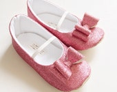 Toddler Girl Shoes Baby Girl Shoes Soft Soled Shoes Wedding Shoes Flower Girl Shoes Pink Glitter Shoes Glitter pink Shoes  - Eloise