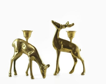 Vintage Brass Deer Candlesticks, Brass Stag, Buck and Doe, Brass Candle Holder Pair