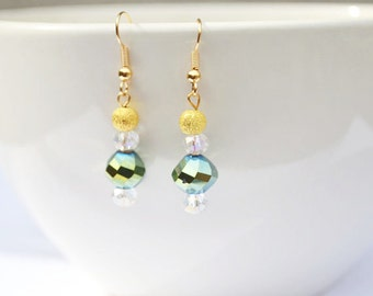 Green Crystal and Gold Bead Earrings