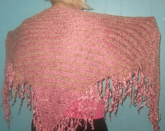 Peachy Colored, warm and thick triangular shawl