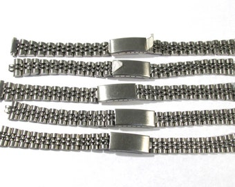 Watch Bands VINTAGE Watch Parts Five (5) Silver Tone Clasp Watch Bands Vintage Watch Repair Jewelry Art Supplies (N134)