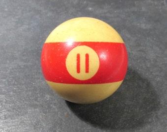 Bakelite #11 Billiard Ball POOL Ball Bakelite Lucky Number 11 Man Cave Decor VINTAGE Bakelite Billiard Ball Vintage Game Piece Destash (D261