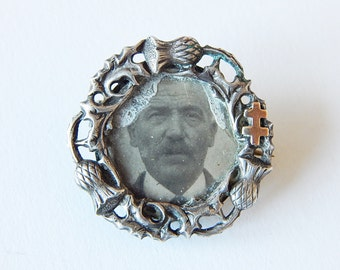 french photo brooch thistle brooch