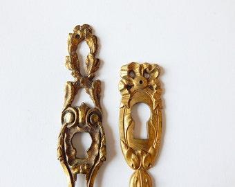 two french keyhole plates vintage ESCUTCHEON