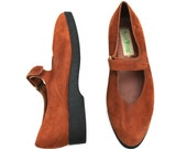 Vintage Maine Woods Rust Brown/Black Suede Mary Jane Classic Dress Shoes Sz 8