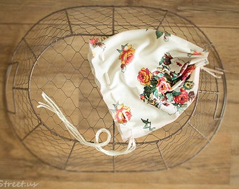 Baby Girl Hat, Baby Bonnet, Floral Newborn Hat, Baby Girl Lace Hat, Bonnet, Ivory Hat, Newborn Props, Baby Hat, RTS, Vintage Baby Hat