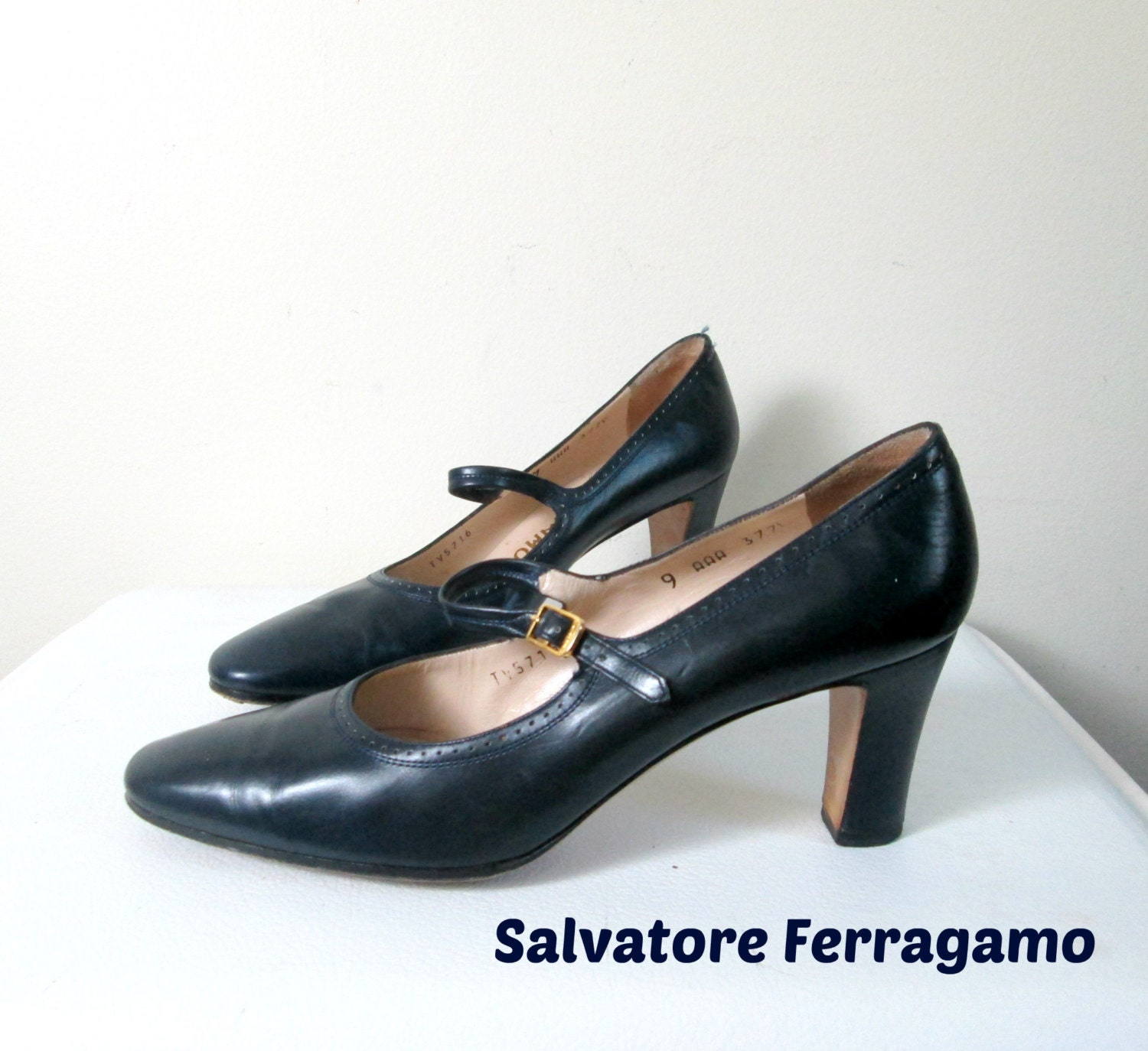 Designer Mary Janes Salvatore Ferragamo Navy by ...