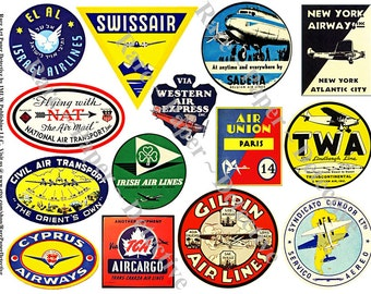 Airline Labels - Printed Airplane Sticker Decals Plane Clip Art Airline Luggage Labels Air Travel Journal Suitcase Stickers Travel Trunk 53a