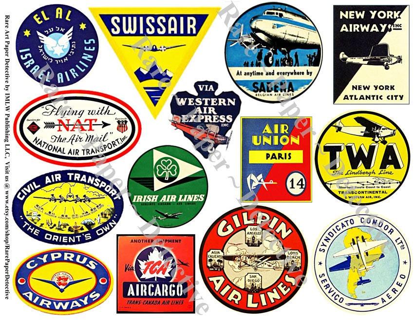 Airline Labels Printed Airplane Sticker Decals Plane Clip