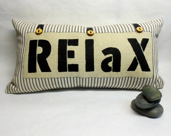 Decorative RELAX Pillow - Word RELAX Decorative Kidney Pillow