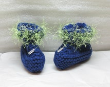 FREE SHIPPING Hand Knit Baby Booties - Boots - Moccasins -  Seahawks Blue with Fun Fur Trim Silver 12 Charm