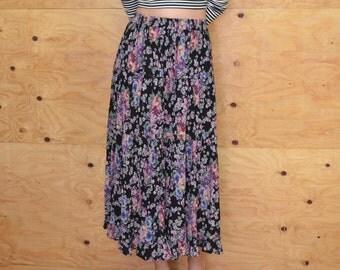 Vintage 80's Pastel Floral Gauze Print Maxi Skirt SZ S
