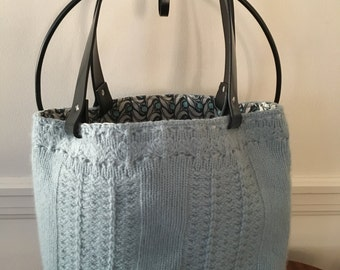 Lt Blue Cable Knit Felted Tote Bag