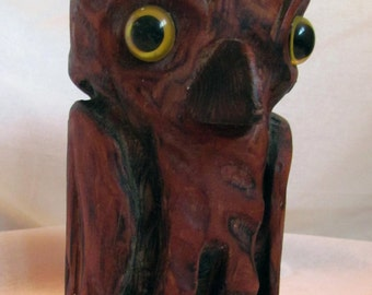 Fun Folk Art - Native American Indian Art? Vintage Hand Wood Carved Owl with Great Charm!
