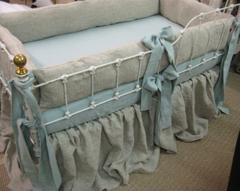 Oatmeal and Patina Washed Linen-Farmhouse Style Crib Bedding-Bumpers-Gathered Crib Skirt-Fitted Crib Sheet
