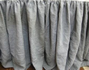 Slate Grey Washed Linen Bed Skirt - Medium Grey Washed Linen Gathered Bed Skirt-Your Size and Length Choice