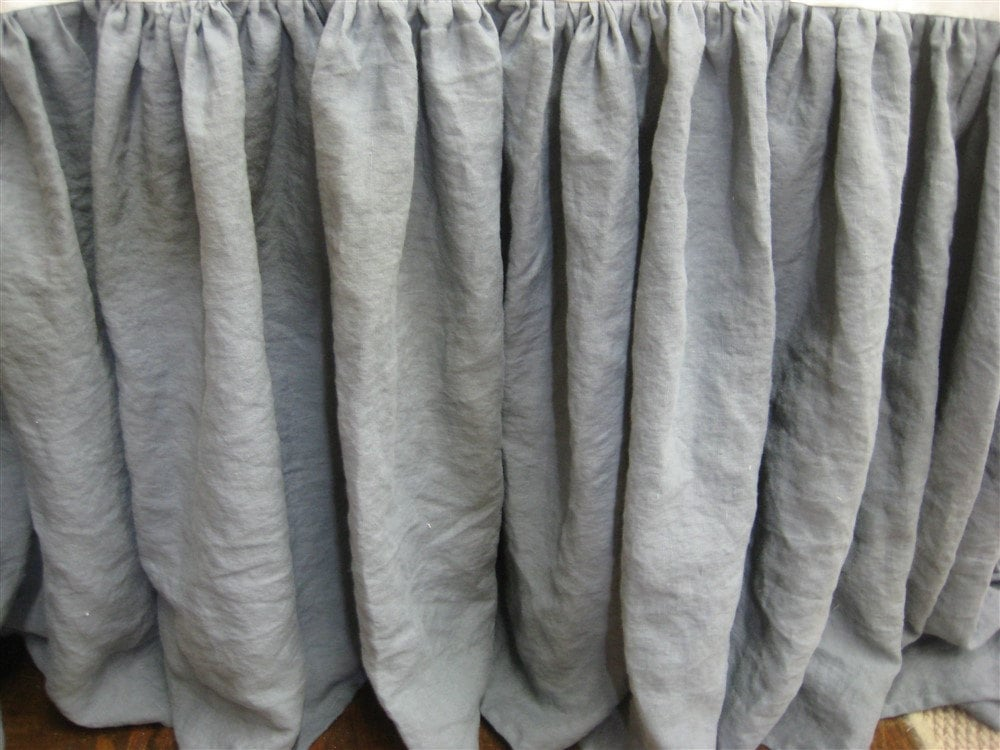 Grey Linen Bed Skirt : Slate grey washed linen bed skirt medium