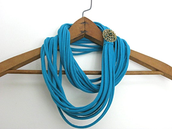 Teal green Blue green skinny jersey scarf, t shirt scarf, infinity scarf, dark green, recycled t shirt with green rhinestone brooch