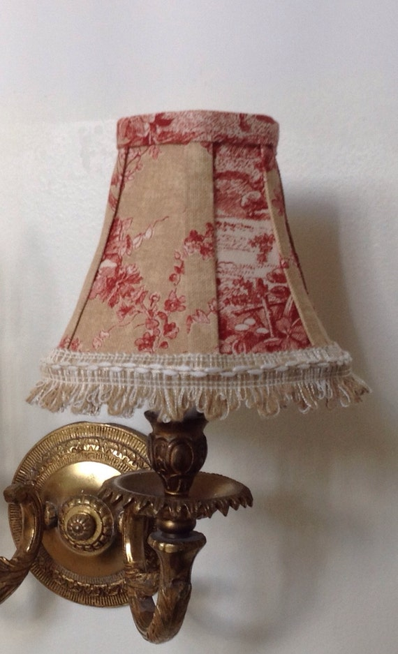 Chandelier Lamp Shade In A Beautiful Natural And Red Toile