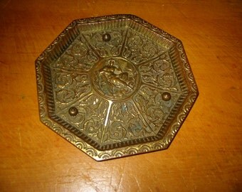 Antique Brass Classical Tray Old Victorian Brass Goddess Furniture Salvage Repurpose Metal Home Decor