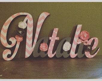 Custom Kids Name Sign - Nursery Wall Letters Name Sign - Wood Wall Letters Cursive Style 4 Letter Name