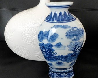 Vintage Formalities Vase by Baum Brothers, Blue and White Porcelain