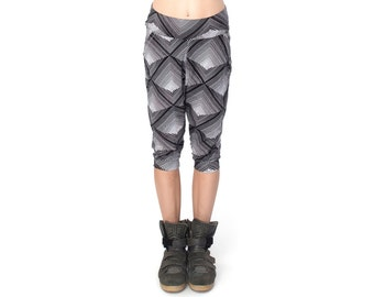Low Crotch Shorts - Baggy Shorts - Drop Crotch Shorts - Sweatpants - Low Crotch Shorts - Black and White Print - Geometric Print