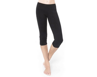Black Cropped Leggings - Black Organic Cotton Leggings - Cropped Leggings - Yoga Pants - Black Capri Leggings