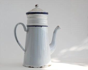 White Enamel Coffee Pot,  Vintage French Coffee Set, Enamel flower pot, Blue and white, country kitchen decor