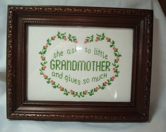 1970s Grandmother Handmade Cross Stitch Framed Sampler.