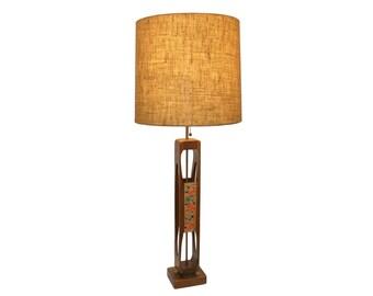 "MASSIVE 52""h  Modeline Danish Modern Table Lamp Sculptural Teak and Enamel on Copper"