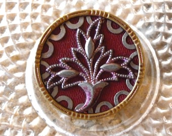 Antique Fabric and Metal Button, Antique Perfume Button, Circa 1800's,  Victorian Era, Button Jewelry,