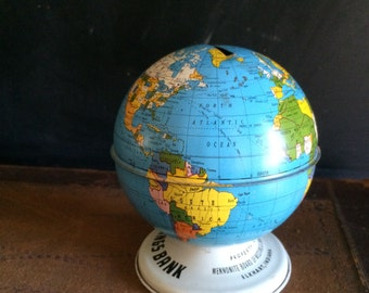 Ohio Art Globe Bank Tin Toy Bank Litho Metal Mennonite Mission Savings