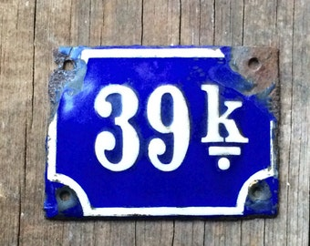 39 K Antique Enamel Vintage Porcelain Sign Cobalt Blue