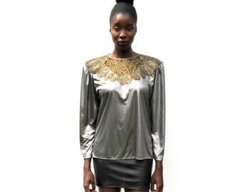 SALE!!!!!!!!!! Oversize silver metallic blouse 1980s 80s VINTAGE