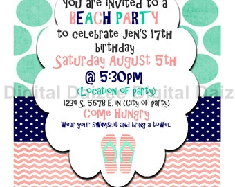 Personalized Beach Party Invite