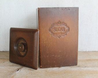 Wooden Vintage Sugar Canister