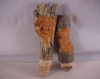 2 Hand Carved Wood Cork Bottle Stoppers
